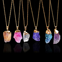 2016 New Product Hot New Women's Irregular Natural Stone Pendant Necklace Crystal Necklaces Jewelry Gift