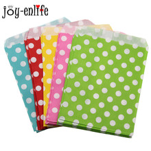 JOY-ENLIFE 25pcs/lot Polka Dot pattern paper bag candy cookies cupcake bag kids birthday party supplies wedding favor gift bag