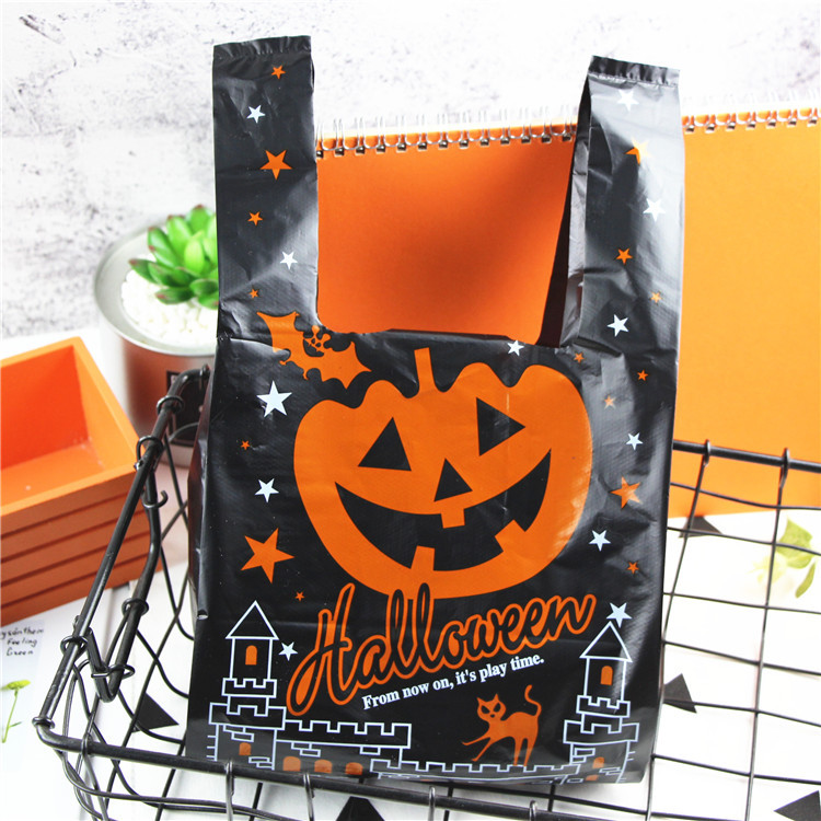 100pcs 18x35cm Supermarket Plastic Bags For Halloween Shops Package Jewelry Party Gift Bags With Handles Storage Cloth Bags