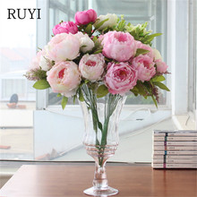 European Style 7 heads peony artificial fower simulation flower wedding decoration for home party office hotel table accessories