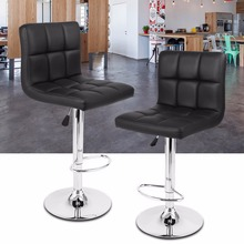 2 pcs Height Adjustable Swivel Quilted Faux Leather Bar Stools Chairs with Chromed Base and Footrest for Bar Counter Office