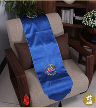 200*33cm Noble Chinese Vintage Embroidered Silk Beautiful navy blue Table Runner Cloth& Bed Flag