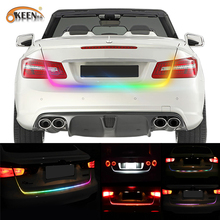 Buy OKEEN 47.6inch RGB colorful flowing LED strip car trunk dynamic blinkers led turn light Tail Trunk lights LED Warning Light for $12.14 in AliExpress store