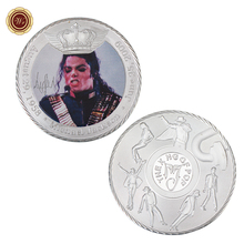 WR Michael Jackson Silver Plated Challenge Coin Christmas Gifts United States Customized Colored Silver Coin for Collection(China)