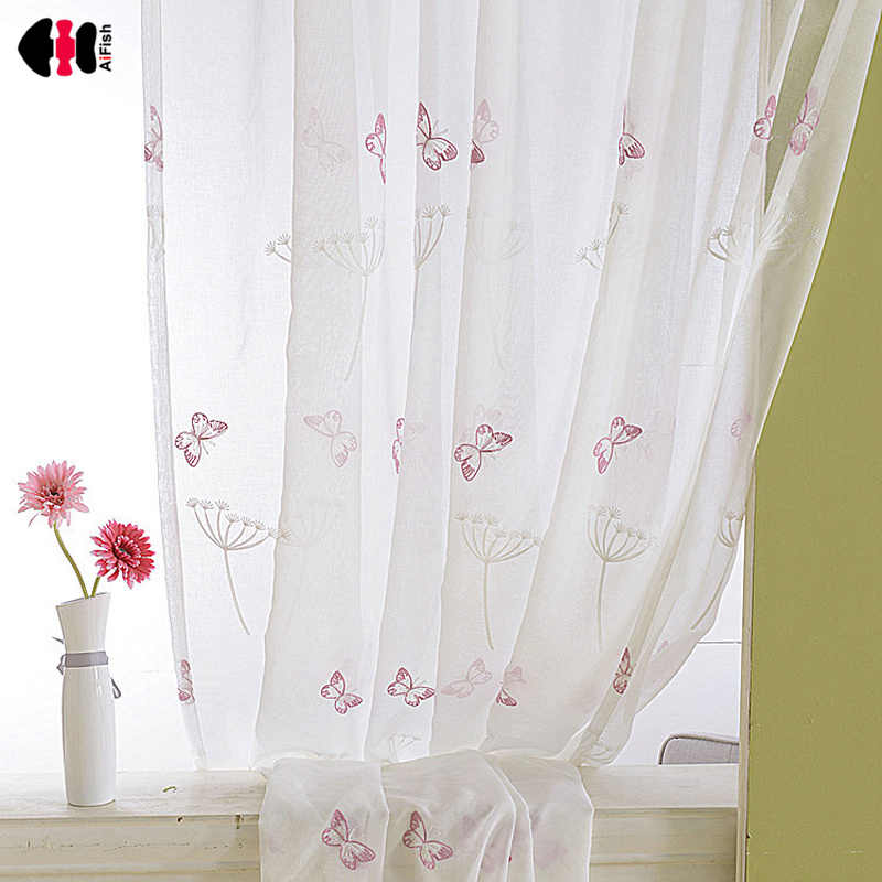 Butterfly Embroidered Voile Curtains Kids Children Bedroom Cartoon Countryside Delicate Sheer Window Treatment Drapes P266C