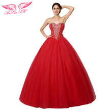AnXin SH red lace beading wedding dress princess crystal ball gown red flower Wedding Dress sweet lace red wedding dress(China)