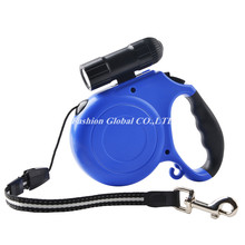 (10 Pieces/Lot)Wholesale 5M Length 40Kg Weight ABS Dog Pet Puppy Retractable Leash Lead with Strong LED