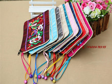 Small Bells Embroidered Zipper Jewelry Gift Pouch Chinese style Silk Card Holder Coin Purse Ring Earring Pendant Packaging Bags(China)
