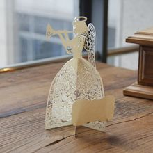 Angel Play the Music 3D Laser Cut Pop Up Cards Wholesale Bulk Custom Christmas Pary Supplies Gifts 5019(China)