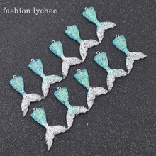 fashion lychee 10pcs Multi Color Resin Mermaid Tail Charms Pendants For Necklace Keychain Charms for DIY Decoration Accessories