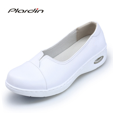 plardin Four Seasons Woman white Nurse shoes women Platform soft Comfortable Air cushion casual genuine leather Antiskid shoes
