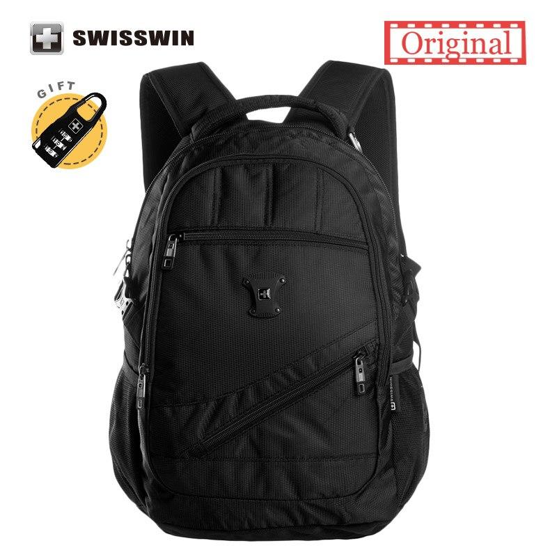 Swisswin Black Business Backpack Male Swiss Military 15 Computer Bag Mochila masculino Orthopedic Backpack Back Pack<br>