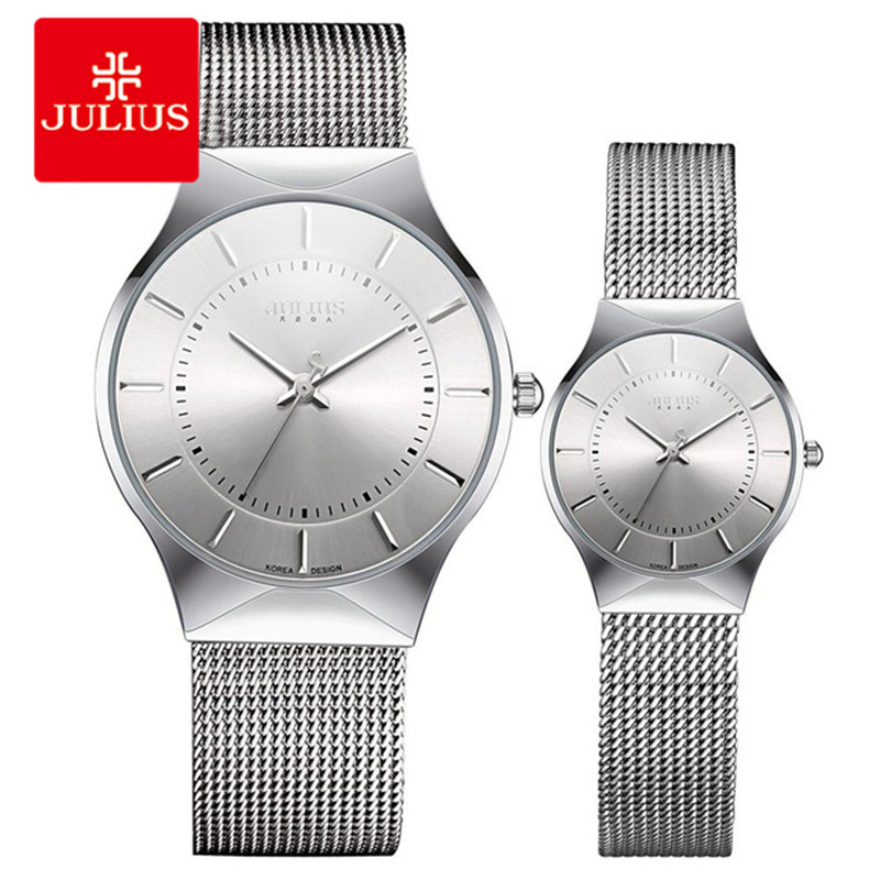 JULIUS Couple Lover Silver Black Ultra Thin Mesh Stainless Steel Quartz Analog Waterproof Fashion Casual Luxury Watch E1<br>