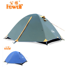 Hewolf double layer outdoor beach camping equipment against wind and big rainning for 2persons with fiber glass pole