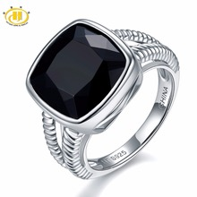 Hutang 6.5ct Natural Gemstone Black Onyx Solid 925 Sterling Silver Wedding Rings Fine Jewelry For Women Gift 2017 NEW(China)