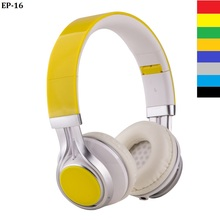 !!!!! Yellow 3.5mm Headset Sports music headphones Folding HOT SALES Headphones For Ipad Ipod Computer tablet mobile phone 2017