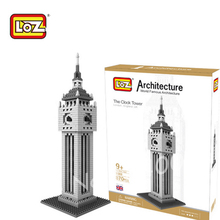 87Big Ben Clock Tower Model LOZ 3D DIY Plastic Building Blocks adult kids/ kindergarten educational diy toys - Cheery baby store