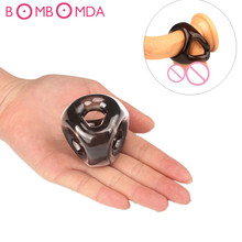 Buy Silicone Male Reusable Penis Sleeve Scrotum Ring Bondage Chastity Cage Cock Ring Restraint Sex Toys Men Delay Ejaculation