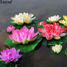 Luyue 5pcs/lot Artificial Foam Lotus Flowers Fake Bouquet for Wedding Decoration Fish Tank Floating Water Simulation Lily Lotus(China)