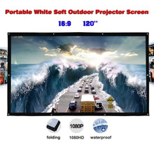120 inches 16:9 Portable Wall Mounted Matt White Soft Curtain Folding Outdoor Projector Screen for LED LCD HD Movie Projection