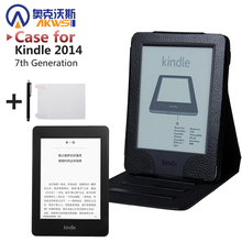 PU leather cover case with stand for Amazon Kindle 7th Generation 2014 + screen protector film + stylus