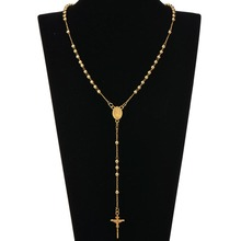 Gold SilverTone Stainless Steel Bead Chain Jesus Christ Cross Pendant Rosary Necklace Mens Womens Jewelry NL1934