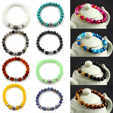 LNRRABC Unisex Women Men Bracelets New Hot Fashion 2016 Charming Lava Beads Onyx Yoga Buddha Bracelet Jewelry Gift