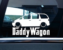 Car Styling for Lowered VW sharan mk1 DADDY WAGON funny car silhouette sticker(China)