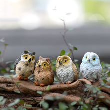 4Pcs Miniature Owls Garden Craft Terrarium Figurine DIY Landscape Decor Cute Funny Room High Quality(China)