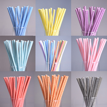 25pcs/lot 10 colors Decorative Environmental Paper Drinking Straws For Kids Birthday Wedding Party Prom Bar/Pub Supply Tubes