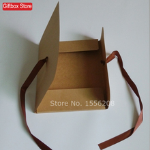 (10pcs/lot) 350g wedding gift packaging bags antique kraft paper envelope silk scraf gift box with ribbon