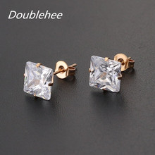 Doublehee Square AAA Zircon Earrings Studs Quality No Fade Allergy Free Pop Brief  Metal Material Titanium Steel Ears Jewelry