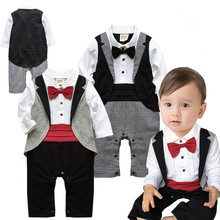 Top Quality Retail One-Pieces Baby Boy Gentleman Romper Long Sleeve Baby spring/autumn Overalls Next Baby Newborn Clothes Body(China)