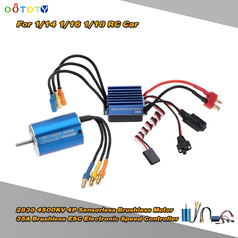 2838 4500KV 4P Sensorless Brushless Motor &amp; 35A ESC for 1/14 1/16 1/18 RC Car<br>