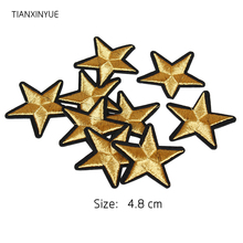 TIANXINYUE Brand 10 pcs Gold Star Embroidered Badges Iron On Patches For Clothing Cartoon Motif Applique Sticker For Clothes(China)