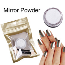 1g Silver Gold Chrome Glitter Mirror Powder for Nails Gel Polish Shiny Color Effect Pigment Pretty Dust with Two Brush