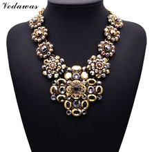 2017 New Design XG081 Long Vintage Statement Necklaces & Pendants Gold Crystal Flower Necklace For Women Gothic Collares Mujer(China)