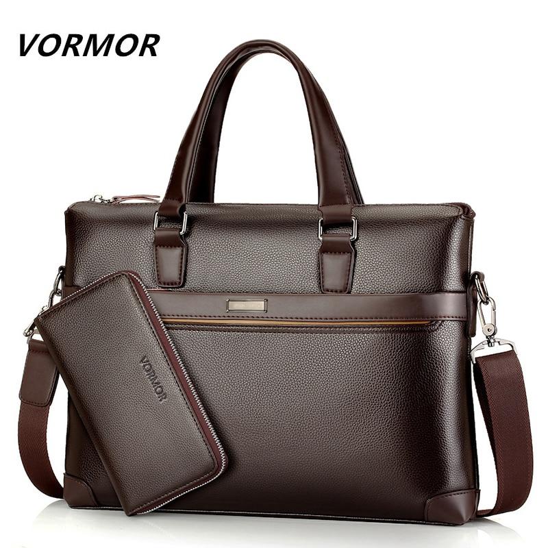 Famous Brand Fashion Casual Leather Mens 2 Set Bag Shoulder Bag Messenger Bags Business Handbag Laptop Male Briefcase<br>