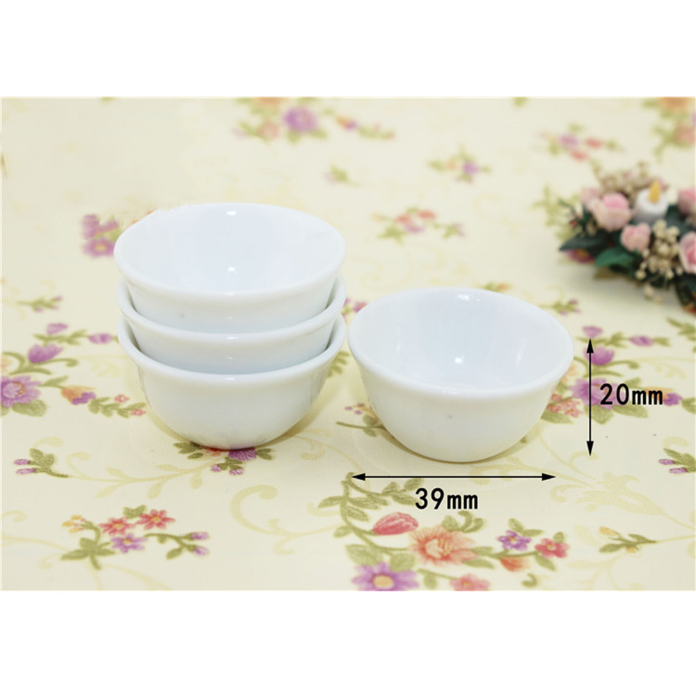 Set of 3 White Pot and Bowl of Soup Dollhouse Miniatures Food Supply Deco
