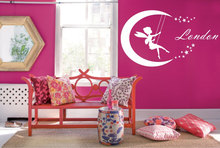 Fairy Moon Personalized Name Wall Decal Home Decoration Accessories Lovely Baby Girls Bedroom Applicable Nymph Art Gifts SYY229