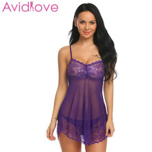 Buy Avidlove Sexy Lingerie Hot Erotic Nightdress Women Exotic Apparel Babydolls Lace Mesh Curved Hem Sex Underwear Costume Intimates