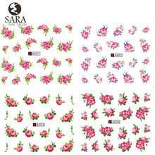 Nail Salon 1 Sheet Flower Full Cover Nail Sticker Water Transfer On Nail Or Pedicure Art Sticker On Finger Nail SAA001-004(China)