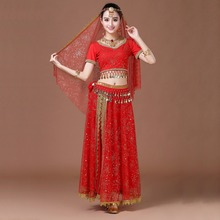 2017 Sari Dancewear Women/Children Belly Dance Costume Set Indian Dance Costumes Bollywood Dresses 4pcs (Top Belt Skirt Veil)(China)