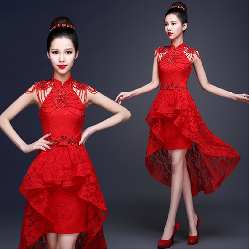 Red Lace Chinese Evening Dress Beading Applique Short Front Long Back Bride Wedding Qipao Backless Cheongsam Sexy Custom