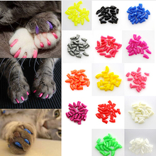 Hot Sale 20Pcs Colorful Soft Pet Dog Cat Kitten Paw Claw Control Nail Caps Claw Control Paws off + 1 pcs Adhesive Glue Security(China)