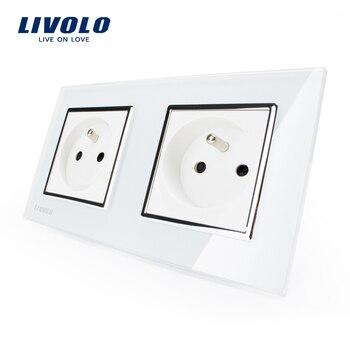 LIVOLO 16A French Standard, Wall Electric / Power Double Socket / Plug, Crystal Glass Panel,VL-C7C2FR-11