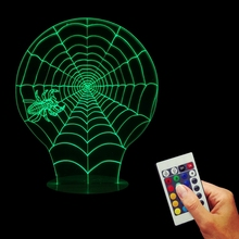 Free Shipping 1Piece Spider Web 3D Table Lamp Scary Party Scene Props Cobweb Night Light with Remote Controller Halloween Decor
