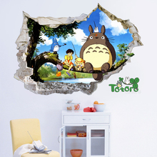 3D Anime Totoro Cartoon Wall Stickers Children Room Decorative Wall Sticker Removable Stickers Home Decor Waterproof PVC Paper