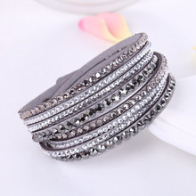 2016 New Leather Bracelet Rhinestone Crystal Bracelet Wrap Multilayer Bracelets for women feminino pulseras mulher Jewelry(China)