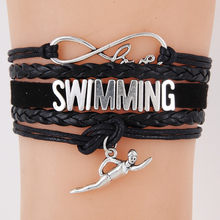 drop shipping Infinity Love Swimming Bracelet Swim Charm Handmade Leather wrap Bracelets & Bangles Best Gift For Swimmer(China)